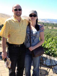 Roxanne and her Derek Alexander crossbody organizer bag... and her husband, too.