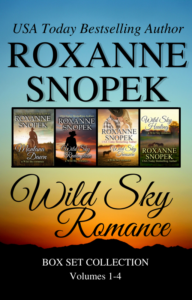 Box set with sunset sky and four book covers